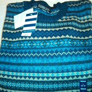 lands end indian tribe pattern crewneck sweater